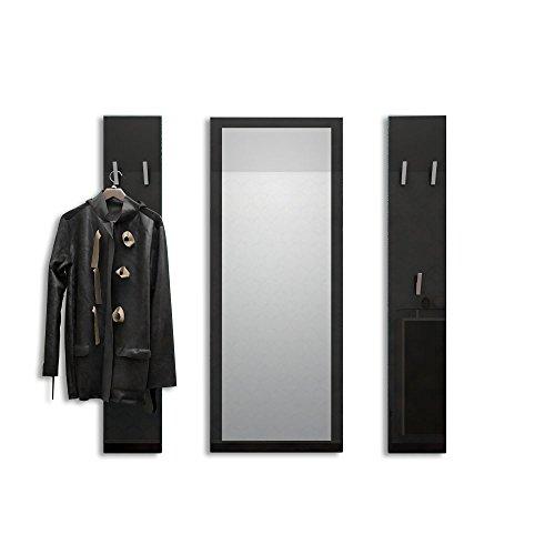 Vladon Garderobenset Garderobe Spot in Schwarz Hochglanz