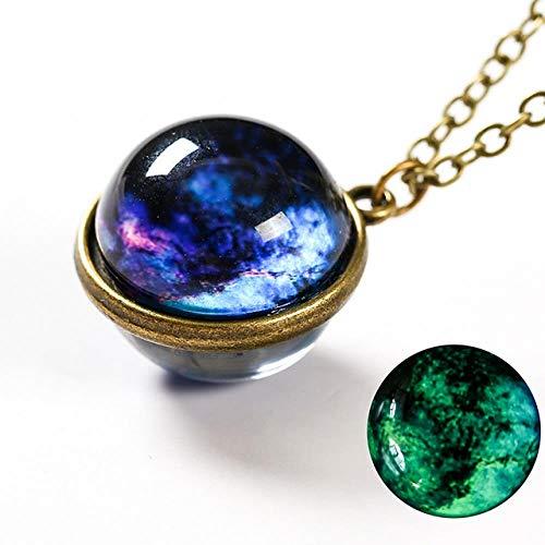 SUNMM Damen Anhänger Halskette Luminous Universe Anhänger Doppelseitig Planet Glass Herren Halskette Zubehör, 1B, 50Cm