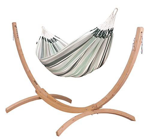 LA SIESTA Paloma Olive - Cotton Double Classic Hammock with Sustainable Wood Arc Stand