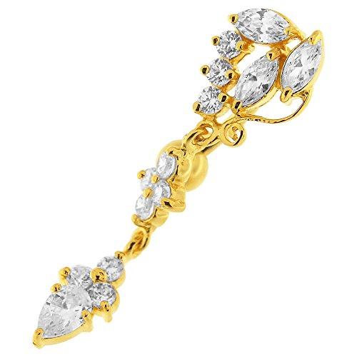 Goudvergulde transparante CZ steen bloem omgekeerde bar bungelend ontwerp 925 sterling zilver navelpiercing