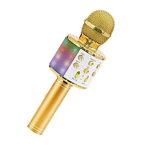 mikrofon Micrófono de Karaoke inalámbrico Bluetooth Handheld Handheld Portable Home KTV Player con función de grabación de Luces LED de Baile para niños Microphone (Color : Black)