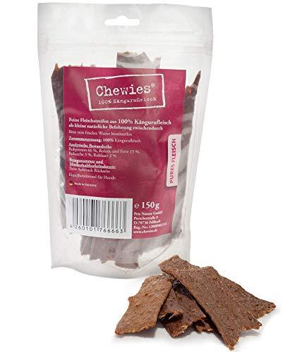Chewies Hundesnack aus 100 % Känguru - Fleischstreifen für Hunde - luftgetrocknete Kängurufleisch Kaustreifen - hypoallergen und getreidefrei - Dörrfleisch vom Känguru, 1er Pack (1 x 150 g)
