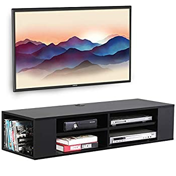 FITUEYES Wall Mount Shelf Media Console Entertainment Floating TV Stand Cabinet Black…