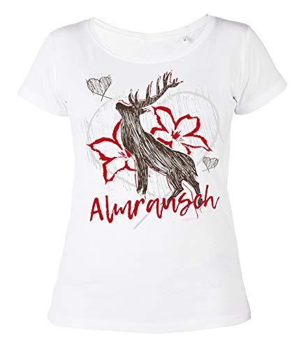 Goodman Design Trachten Trachten Damen T-Shirt: Almrausch - Hirsch, Weiß, M