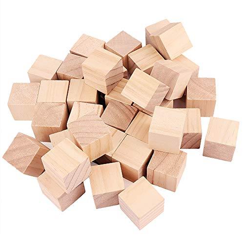 yyuezhi Bloques Cuadrados de Madera Mini Cubos de Madera Cubos Artesanía de Madera Adorno Mini Cubo de Madera Artesanal Cuadrado de Madera para Manualidades Diy Artesanía Pintar Decoración 30 Piezas