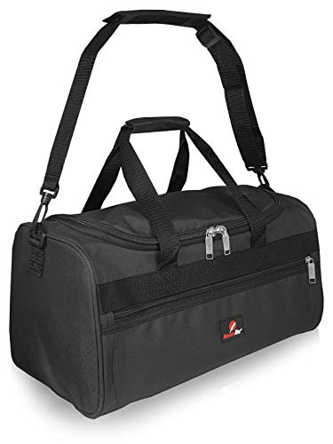 Roamlite Hand Luggage Size Bags - Small Travel Holdalls Ryanair 2nd Item - Cabin Approved Polyester Duffle - 40 cm x25x20, 20 Litre - RL59K (Black)