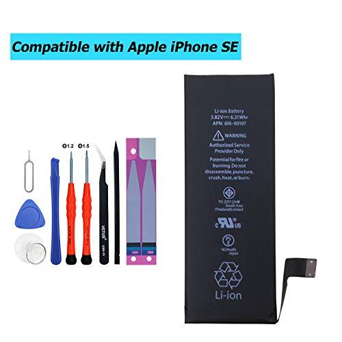 Upplus - Batería de Repuesto para iPhone SE con Kit de Herramientas 616-00107 (1624 mAh, 3,82 V)