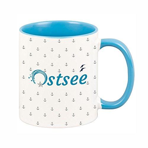 Tasse Ostsee mit kleinen Ankern (blauer Henkel + blaues Innenleben), Kaffeetasse, Kaffeebecher, Geschenkidee, Geburtstagsgeschenk, Geburtstag, Mitbringsel, Andenken, Gastgeschenk, Souvenir