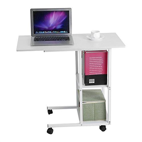 lyrlody Computertisch, beweglicher Cmoputer-Tisch über dem Bett Schreibtisch PC Laptop Schreibtisch Arbeitsstation für kleine Arbeitszimmer mit 4 Rollen, weiß für das Heimbüro, 80,2 x 40,2 x 75,5 cm