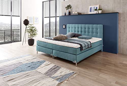 WELCON boxspringbedtenshop24.de - Rockstar boxspring bed boxspringbed 180x200cm hardheid H3 in blauw incl. topper - doorlopende matras met meer dan 1000 veren - boxen van massief hout