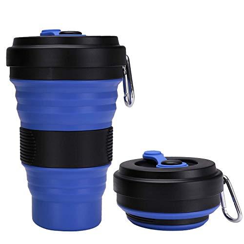 Idebirs Silikon-Kaffeetasse, erweiterbare, kochsichere Trinkschale, tragbare 19-Unzen-Flasche, 3 einstellbare Größen for alle Bedürfnisse (Blau 2)