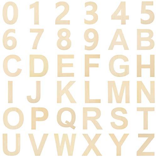 36 Stücke Holz Buchstaben Nummer Set Unvollendete Holz Groß Buchstaben Holz Nummern DIY Ausschnitt Holz Buchstaben für Wand Haus Dekoration und Kinder Lernen (6 Zoll)