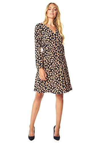 Roman Originals dames abstracte print Fit-&-Flare wikkeljurk - Dames dagkleding dagelijks gebruik casual elegant kantoor patroon tailleband V-hals lange mouwen knielange jurk