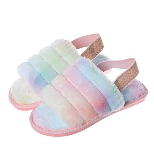 UMore Frauen Pelz Pelz Hausschuhe Plüsch Gemütliche Outdoor Indoor Sandalen Fluffy Slides Schuhe mit elastischen Riemen