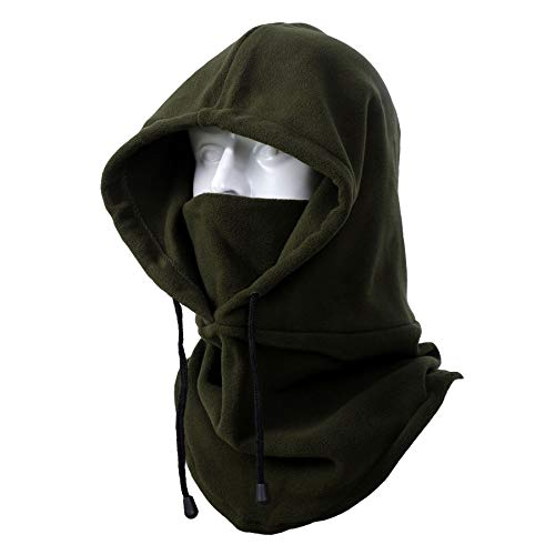 NEOLA Pasamontañas a prueba de viento bufanda de esquí con capucha térmica para cuello pesado para motocicleta invierno cálido sombrero para hombres unisex (verde militar)