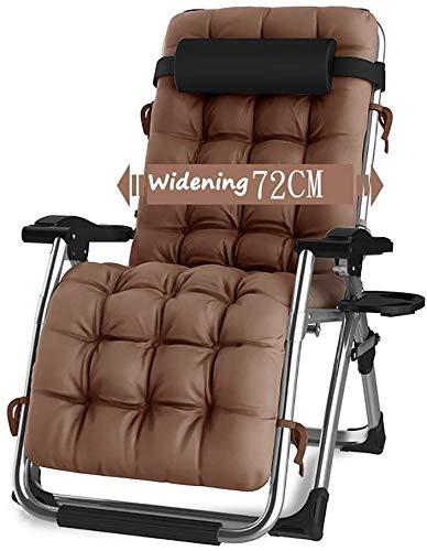 Sillón gravedad cero silla de salón, terraza plegable sillón regulable,Brown