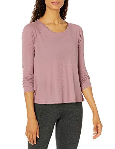 Amazon Brand - Core 10 Women's Ultra-Lightweight Semi-Sheer Ribbed Knit Open Slit Back Long Sleeve Yoga Shirt, Mauve, 3X