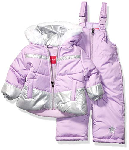 LONDON FOG Girls' Little Snowsuit with Snowbib and Puffer Jacket, Violet Silver Foil, 5/6