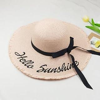 LONLLWK Sombrero para El Sol Carta Bordado Sol Playa Flecos Sombrero De Paja De Verano para Las Mujeres Luna De Miel Náutica Floppy Sombrero