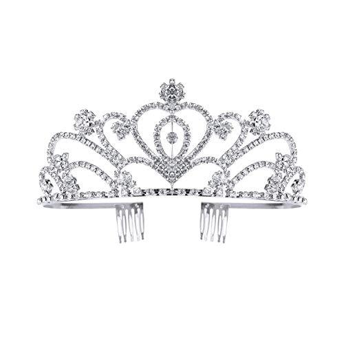 Tiara de plata con diamantes de imitación corona de cristal de cumpleaños...