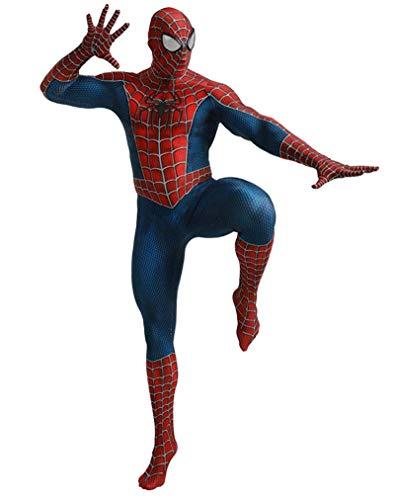 CXYGZLJ Disfraz de superhroe de Spiderman, Spider-Man Tobey Cosplay Lycra Sumpsuits Spiderman Suit Halloween Deluxe Digital, Grandes Medias con Todo Incluido para nios y nias,Adult Male S