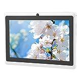 Tablet PC de 7 pulgadas HD – Tablet Android 4.4 Quad-Core portátil con doble cámara, 7 pulgadas, pantalla táctil, Bluetooth, WiFi con batería de 3000 mAh, RAM 512 MB + ROM 8 GB (blanco, enchufe UE)