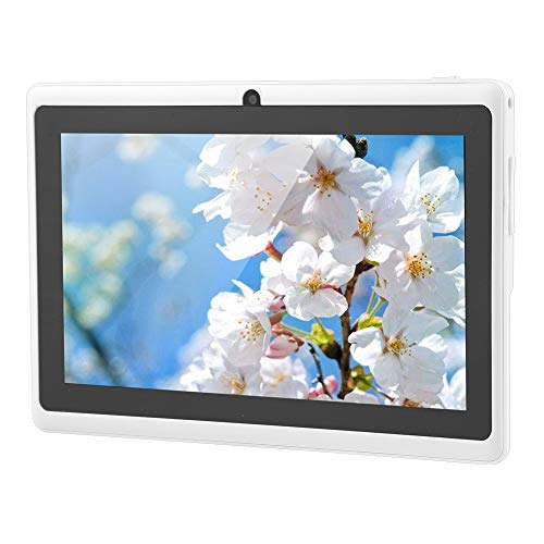 Tablet PC de 7 pulgadas HD – Tablet Android 4.4 Quad-Core portátil con doble cámara, 7 pulgadas, pantalla táctil, Bluetooth, WiFi con batería de 3000 mAh, RAM 512 MB + ROM 8 GB (blanco, enchufe UE)