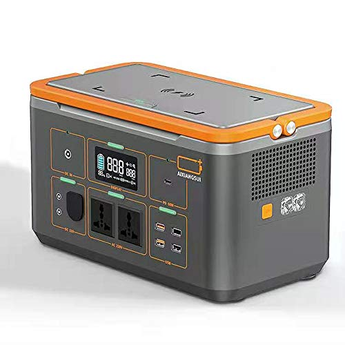 SHIN Generador Solar,Generador Portátil 220v con Inversor DC/AC e LED Pantalla,Cargado por el Panel Solar/Toma de Corriente para Respaldo de Emergencia CPAP / 124W/4000mAh