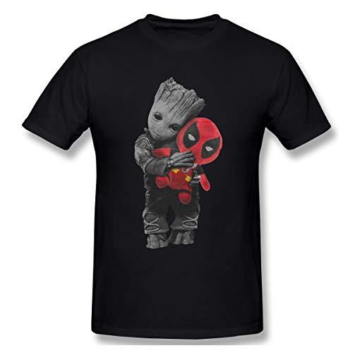 Gifetee Groot Deadpool Herren Komfortabel T Shirt Black L