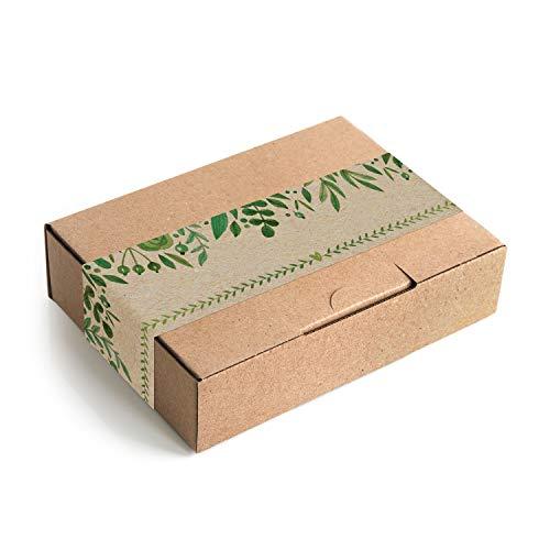 Logbuch-Verlag 10 kleine Geschenkschachteln Kraftpapier MIT AUFKLEBER grün braun Verpackung DHL Maxibrief 18 x 13 x 4,5 cm Geschenkbox Geburtstag Postkarton natur