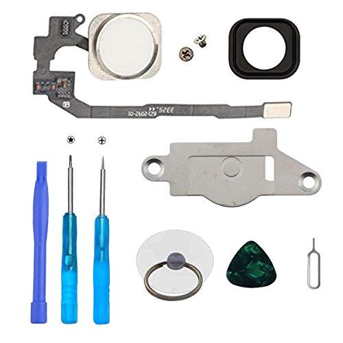 LTZGO Home Button/Hauptknopf für iPhone 5S iPhone SE und (Weiß) mit Flexkabel Taste inkl. Metal Bracket und die Schutz Armatur Gummidichtung &Reparatur-Tool-Kit/Werkzeugset für einfache Installation