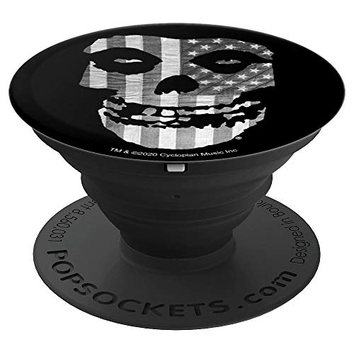 Misfits Gray American Flag Fiend Skull Logo PopSockets Grip and Stand for Phones and Tablets