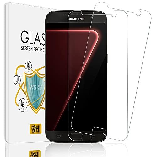 wsky [2 Stück] Panzerglas Schutzfolie für Samsung Galaxy S7, 9H Härtegrad, Keine Blasen, Ultra-klar Panzerglasfolie, Anti-Kratzen, Sensitive Touch, Gehärtetem Glas Displayschutzfolie