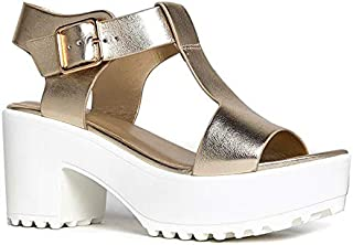 Best Corby Platform Sandals for Women - T-Strap Chunky Mid Heel Sandal Review