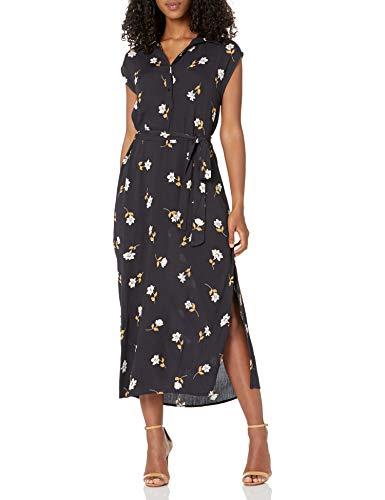 Billabong Women's Lovely Ways Button Front Midi Dress, Black Floral, M