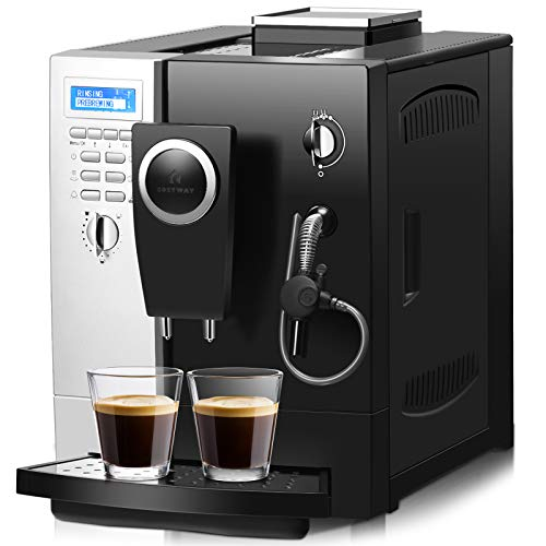 COSTWAY Super Automatic Espresso Machine, All-In-One Programmable Cappuccino, Latte and Coffee Machine with 19 Bar Espresso Pump, Easy Operate Panel and 2L Removable Water Tank, Compact Coffee Maker with Milk Frother for Office, Home, 1200W