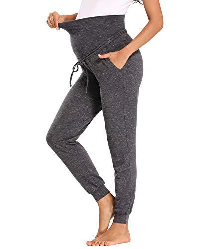 Love2Mi Umstandshose Schwangerschaft Jogginghose Mit 2 Taschen, Pocked Grey, M