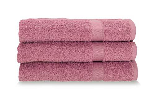 Gabel Asciugamani Viso, Spugna di Puro Cotone Idrofilo, 60 x 100 cm, Fuxia, Set da 3 Pezzi