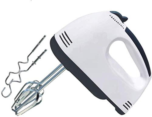 Wolblix Hand Mixer Electric White 300- Watt with 7 Speed Whisk Mixer Control & Detachable Stainless-Steel Finish 2 Dough Hooks and 2 Whisks Beater & Whisker