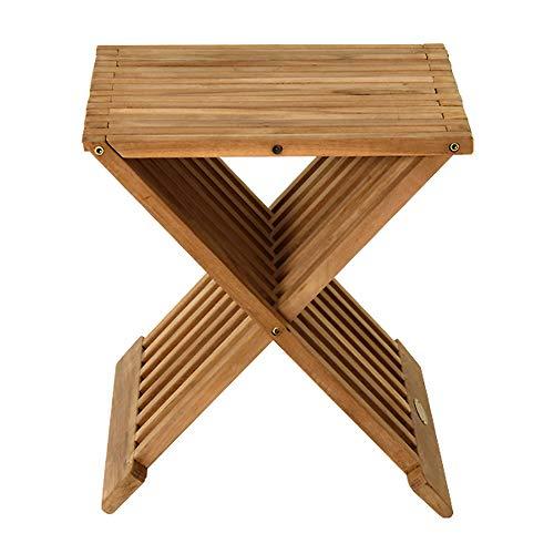 Homy Beistelltisch Hocker Holz massiv rechteckig Teakholz unbehandelt klappbar Klapptisch - Kenny