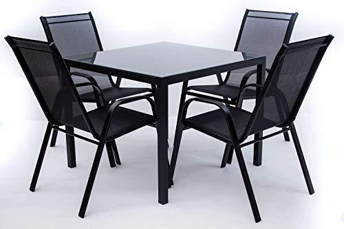 AVANTI TRENDSTORE - Zeno - Set da Giardino Composto da 1 Tavolo in Metallo e Vetro Grigio, con 4 sedie impilabili. Tavolo Disponibile in 2 Diverse Misure (Small)