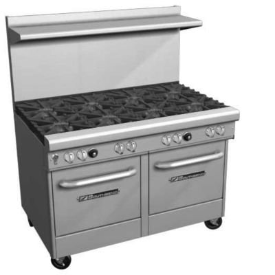 "Southbend 4481AC-2CL 48"" Ultimate Restaurant Gas Range w/ 4 Non-Clog Burners, 24"" Left Charbroiler, (1) Convection Oven & (1) Cabinet Base"