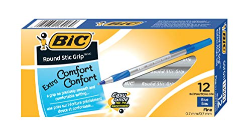 BIC Round Stic Grip Xtra Comfort Ballpoint Pen, Fine Point (0.8mm), Blue, 12-Count