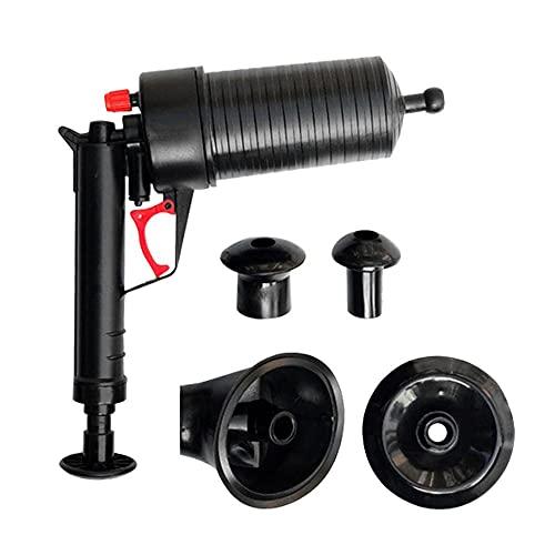 XKMY émbolos para inodoro con tapón de dragado de aire caliente, pistola de drenaje, bomba de alta presión, limpiador de drenaje, tubo de fregadero, émbolo para baño, ducha y baño (color: negro)