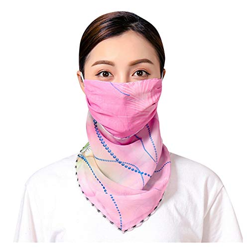 Feytuo Seiden-Tuch für Damen Mädchen, Elegantes Accessoire/Baumwolle/Seiden-Schal/Halstuch/Schulter-Tuch, Wind-, Staub- und Sonnenschutz-Halbmaske