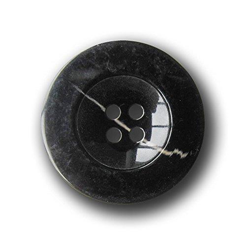 Knopfparadies - 5er Set günstige, sehr große schwarze Vierloch Mantelknöpfe aus Kunststoff / B-WARE / schwarz, naturweiß / Kunststoff / Ø ca. 34mm