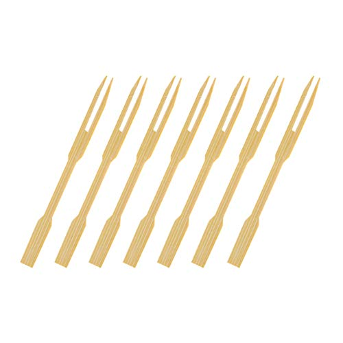 Fan-Ling 80PCS Disposable Bamboo Catering Forks Fruit Stick Finger Food Pick,Fruit Forks