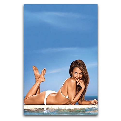 WPQL Jessica Marie Alba Bikini Leinwandbild Druck Modern Familie Junge Schlafzimmer Dekoration Poster 60 x 90 cm