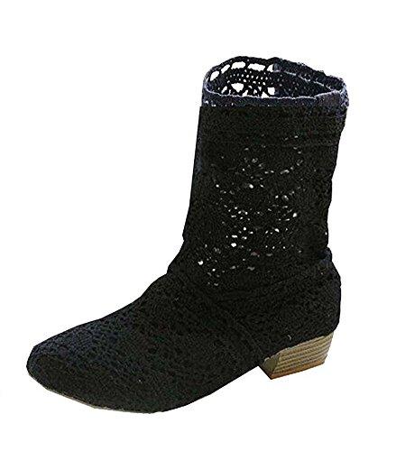 Minetom Mujer Verano Otoño Sandalias de Cuña Platform Tobillo Boots Respirable Encaje Hueco Redonda Toe Zapatos Botas