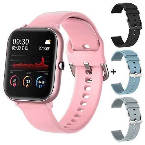 2021 P8 SE 1.4 Pulgadas SmartWatch Hombres Modo Multi-Deportes táctil Completo y Monitor de Ritmo cardíaco para Mujeres para iOS Android, Monsteramy (Color : Pink with 3 Straps)
